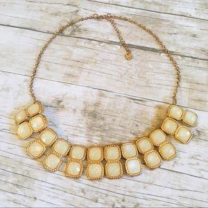Jewelry - Statement Necklace Gold Tone Beige Gemstones